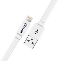 USB CABLE LIGHTNING FLAT - 1 MTR - WHITE - PREMIUM ECO